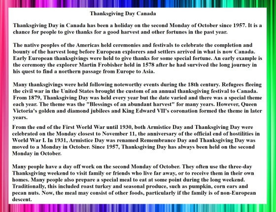 Thanksgiving Day Cananda Speech