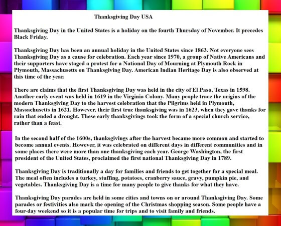 Thanksgiving Day USA Speech